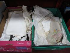 Linens, Crochet, Needlework, Damask, etc:- Two Boxes