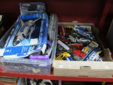Two Boxes of Toys, including figures, diecast cars, kits among other items.