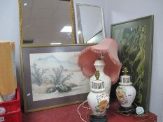 A Pair of Chinese Pottery Table Lamps, one other, two mirrors, print, tapestry.