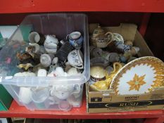 Pottery, cups, tea pots, jelly mold, Royal Albert, Worcester, Foley etc:- Two Boxes.