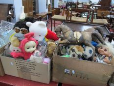 Yakov's Meerkats, Tomy Teletubby, English made owls, Ceppi Ratti and other dolls; two leather