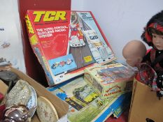 T.C.R Total Control Race Track and Cars, distressed box, also Dr X Adventure train set, distressed