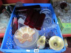 Glassware, jars, dishes, cruets, Queen Elizabeth Coronation bowl, drinking glasses, etc.