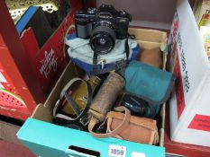 Cameras - Yashica 108 having 35-70mm lens, Halina, Kodak, Yashica 75.200mm lens.