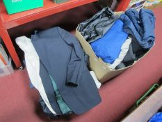 Gents Suits, Jackets, including evening suit, leather jacket, sports wear, shoes etc:- Two Boxes