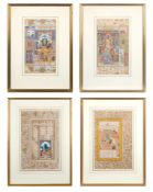 A SET OF FOUR MUGHAL ILLUMINATED MANUSCRIPT FOLIOS SHOWING COURT SCENES BY HAIDAR KASHMIRI, CIRCA 16