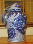PAIR OF LARGE CHINESE BLUE AND WHITE GINGER JARS