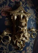 PAIR OF CARVED GILTWOOD CHINOISERIE WALL SCONCES