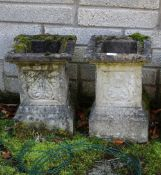 PAIR OF MOLDED STONE PLINTHS