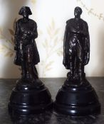 TWO MINIATURE BRONZED FIGURES