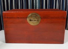 CHINESE RECTANGULAR LEATHER-BOUND TRUNK