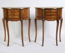 PAIR OF WALNUT AND BRASS MOUNTED LAMP TABLES