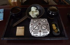 CHINESE BAMBOO TRAY AND ITEMS