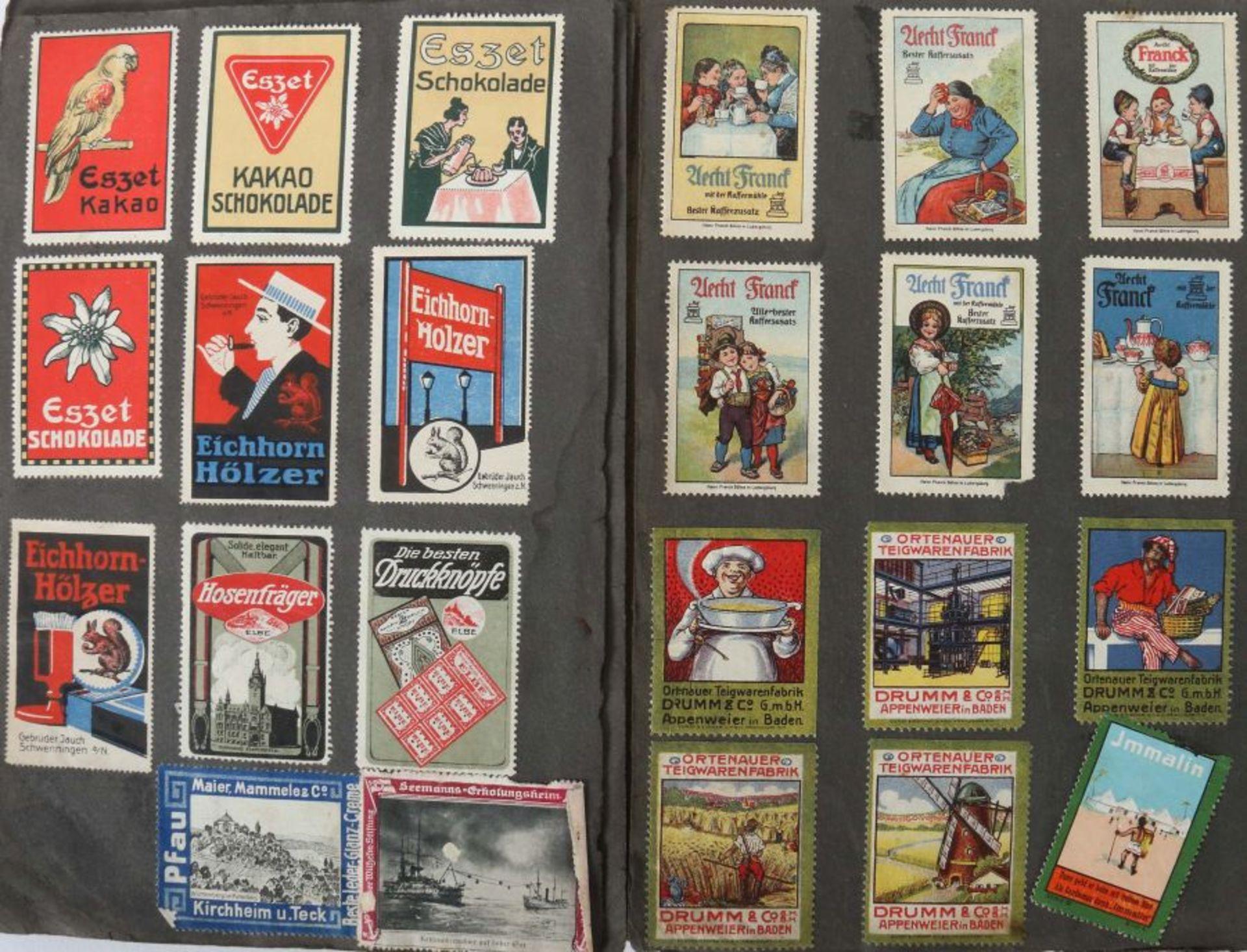 3 Werbevignetten-Alben Alben mit ca. 700 Werbevignetten, u.a. Graetzin, Odol, Weck, Matagon, - Bild 3 aus 6
