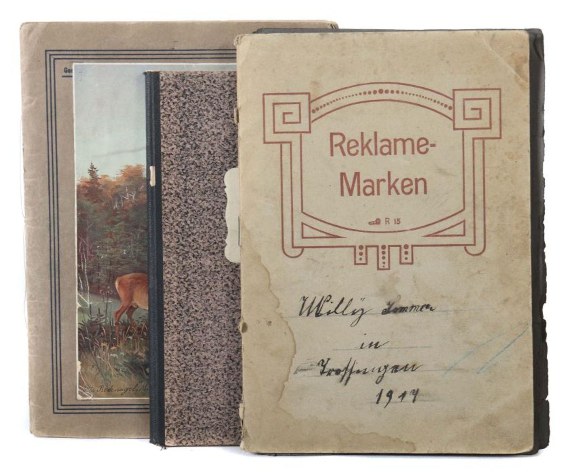 3 Werbevignetten-Alben Alben mit ca. 700 Werbevignetten, u.a. Graetzin, Odol, Weck, Matagon,