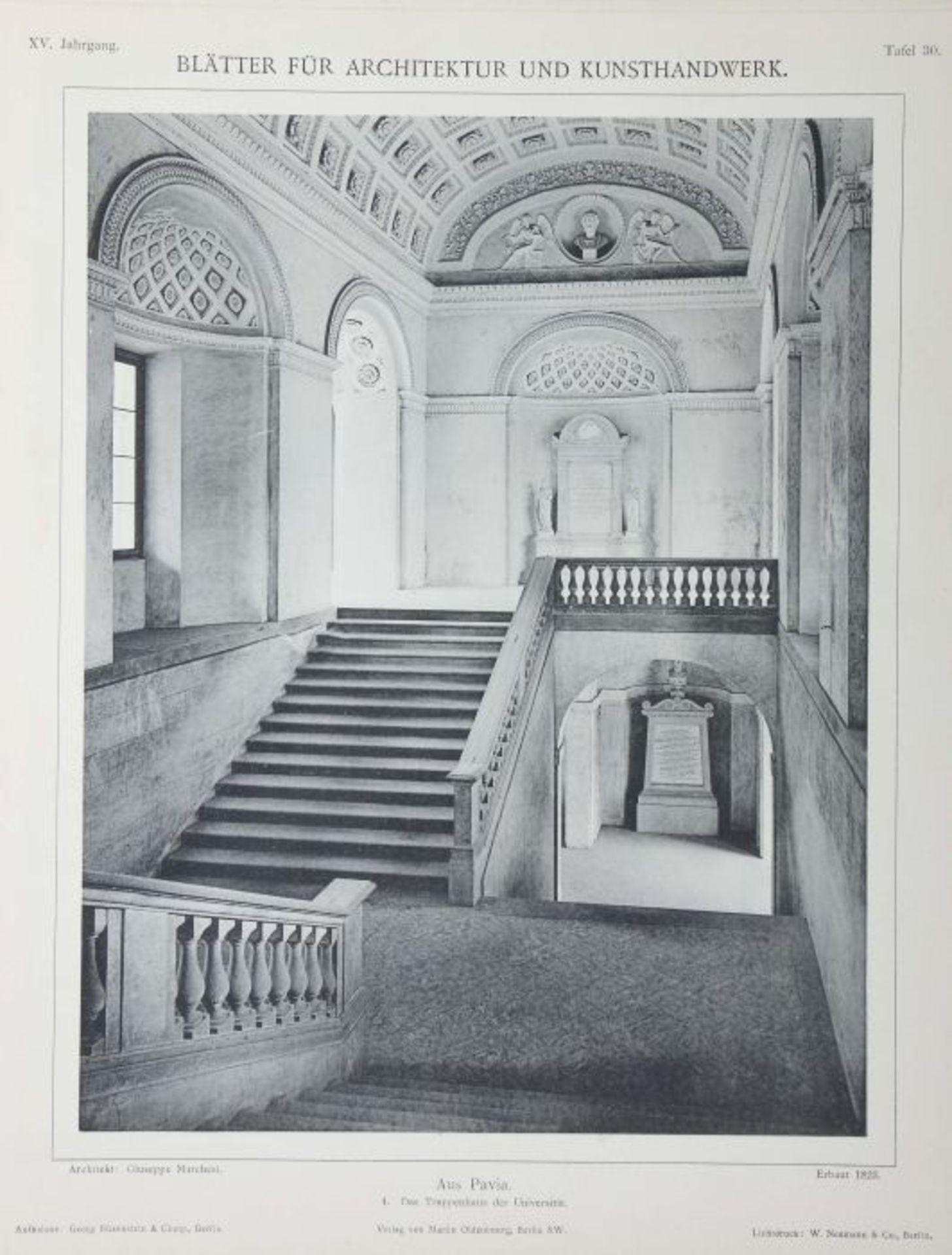 Blätter für Architektur und Kunsthandwerk Oldenbourg/Spielmeyer, Berlin, 1900-02, 3 Bde., je mit - Bild 5 aus 6