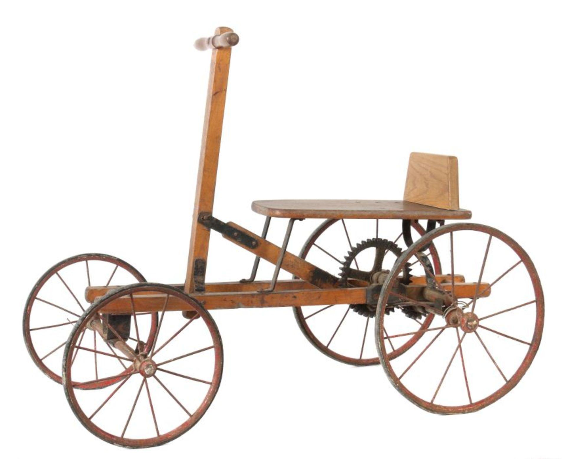 Holländer Kinderfahrzeug wohl Fa. Naether/Zeitz, um 1920, Holzkonstruktion, Reste blauer