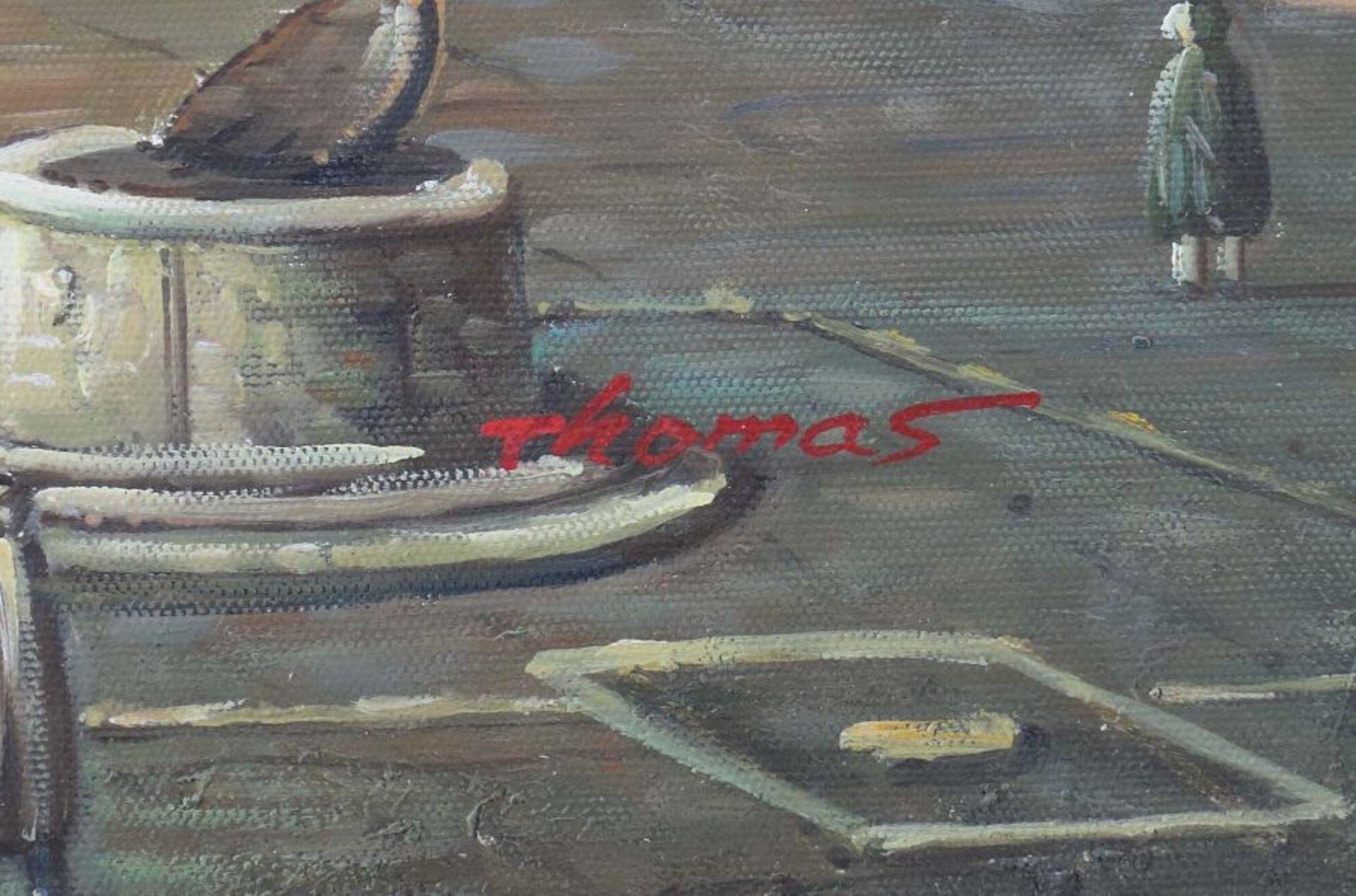 """Maler 2. H. 20. Jh. """"Italienischer Marktplatz"""" mit Figurenstaffage, Stadtansicht im Stil des 17. - Bild 3 aus 3"""
