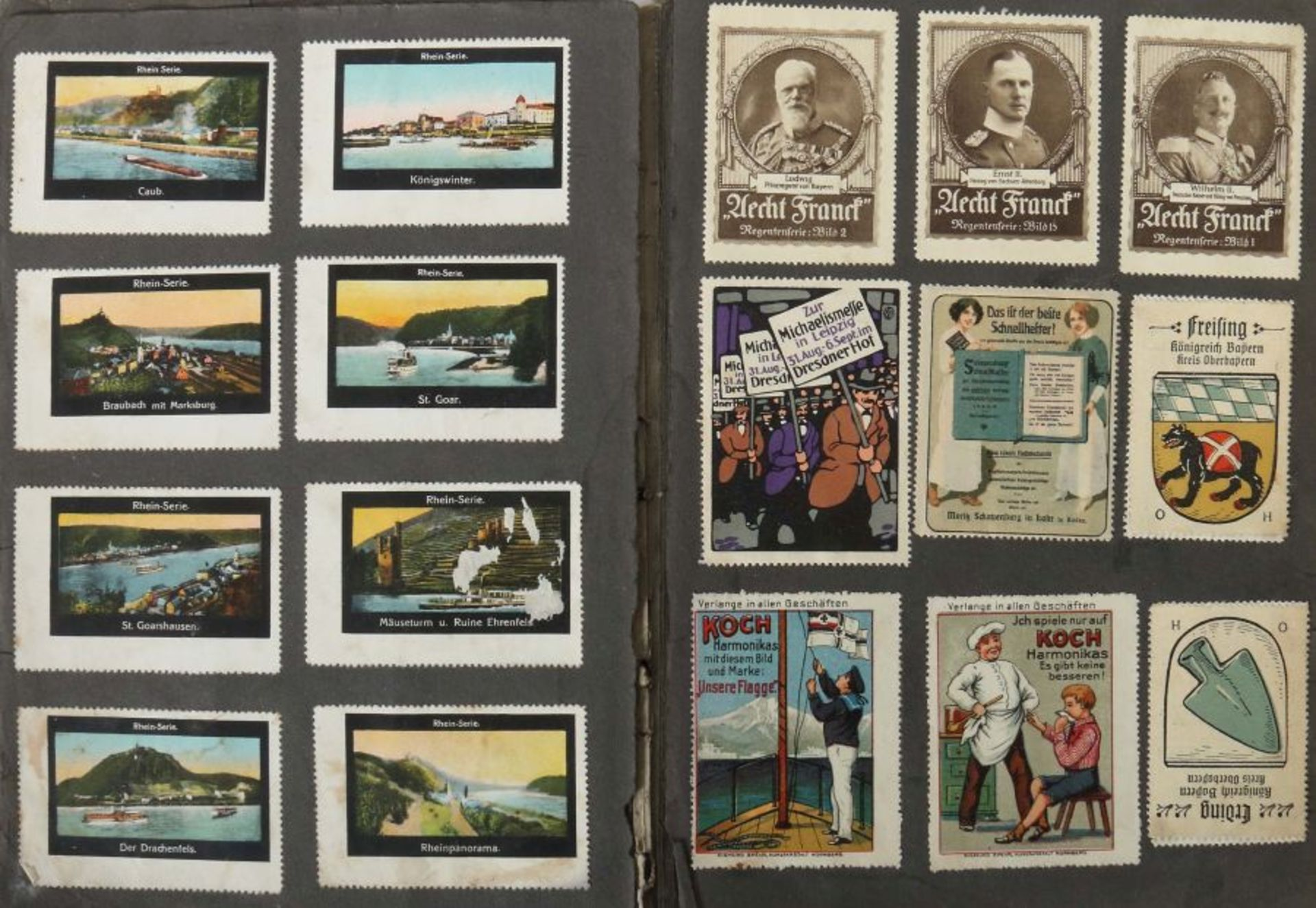 3 Werbevignetten-Alben Alben mit ca. 700 Werbevignetten, u.a. Graetzin, Odol, Weck, Matagon, - Bild 2 aus 6
