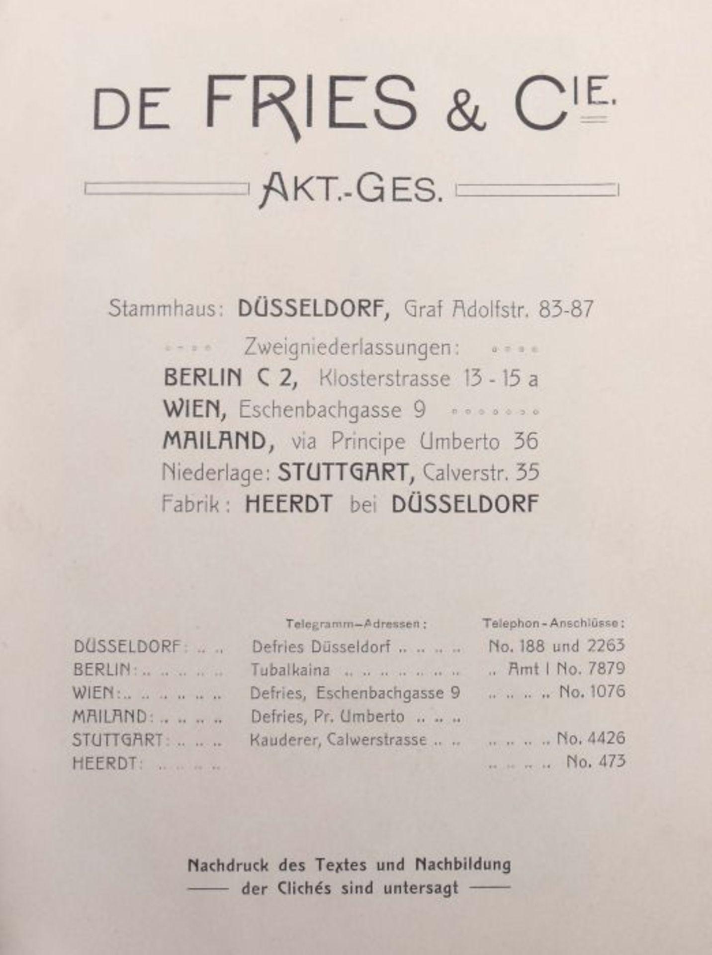 De Fries & Cie AG, Düsseldorf Hauptkatalog der Werkzeuge und Bedarfsartikel, 1901, 799 S. mit - Bild 2 aus 3