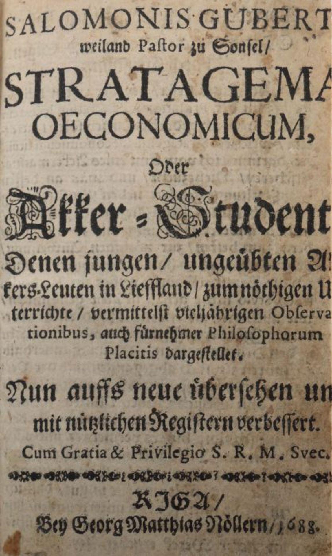 Gubert, Salomo Stratagema oeconomicum, Oder Akker-Student Denen jungen, ungeübten Akkers-Leuten in - Bild 3 aus 4