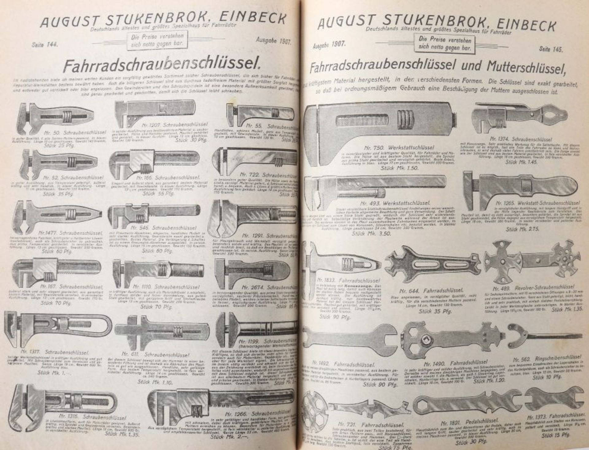 Warenkatalog August Stukenbrok, Einbeck 1907, Katalog mit zahlr. Abb., u.a. Fahrräder, - Bild 3 aus 3