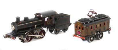 2 Loks Märklin, Spur 0, 1 x 20-Volt-Dampflok m. Tender 0/35, R 13040, schwarz CL, BZ 1926-31, ohne