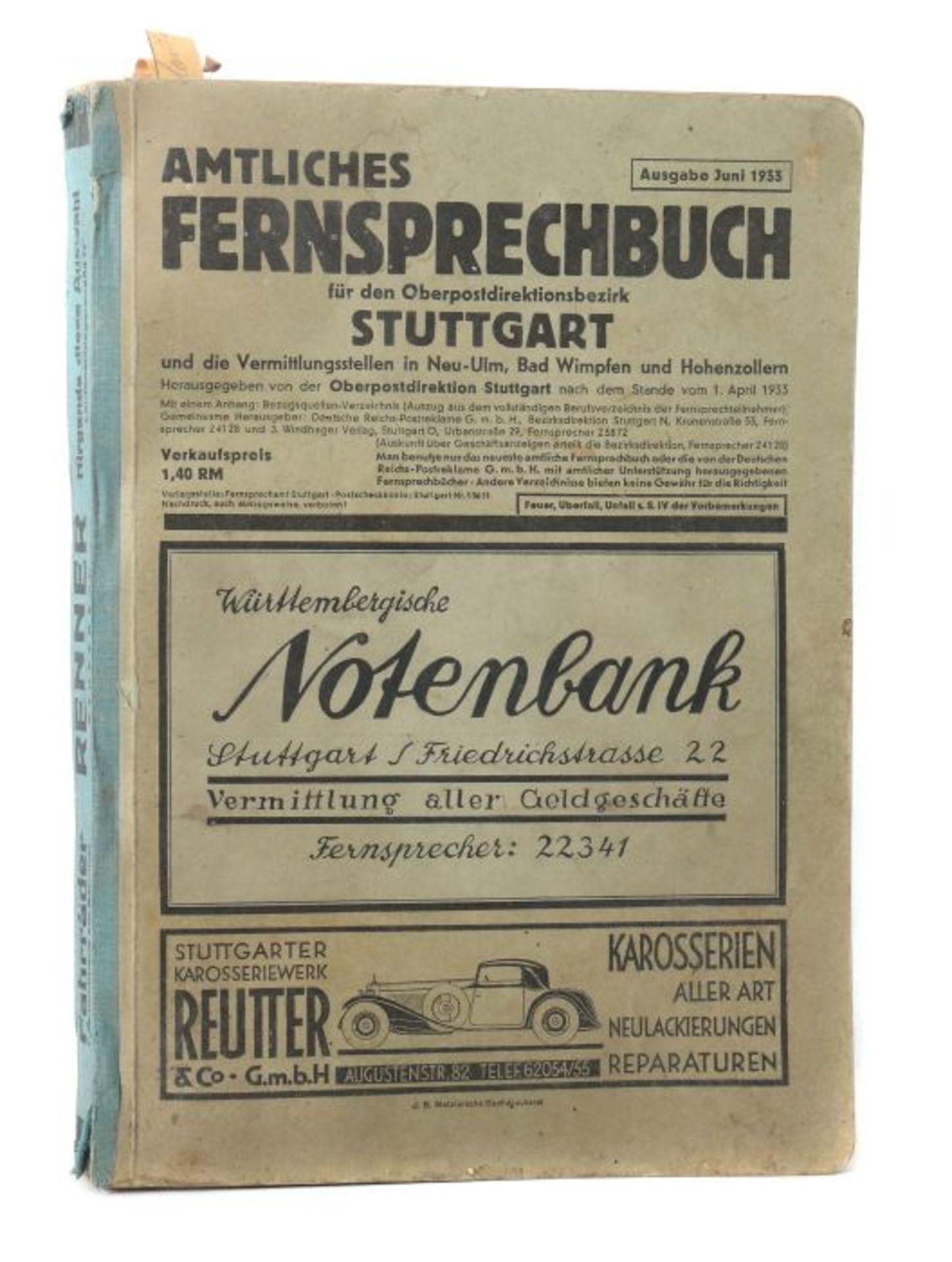 Amtliches Fernsprechbuch für den Oberpostdirektionsbezirk Stuttgart, Ausgabe Juni 1933, 578 S. +