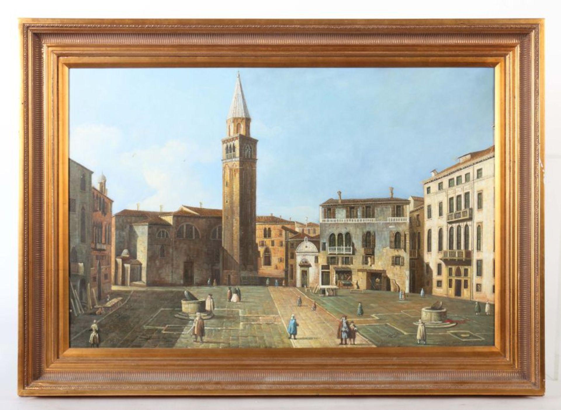 """Maler 2. H. 20. Jh. """"Italienischer Marktplatz"""" mit Figurenstaffage, Stadtansicht im Stil des 17. - Bild 2 aus 3"""