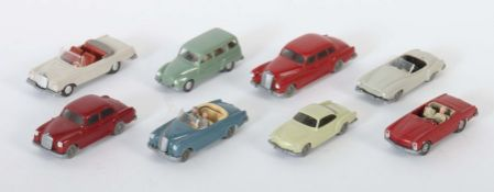 8 PKW Wiking, 1:87, 1960-70er Jahre, 1 x 306 VW Karman Ghia, hellgraugrün?; 1 x 364 DKW Universal,