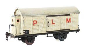 """Kühlwagen Märklin, Spur 1, BZ 1931-1936, weiß HL, mit Bremserhaus, mit Aufschrift """"PLM"""", L: 27,5"""