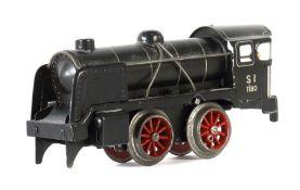 Dampflok Distler, um 1940, Blech, schwarz, Aufschrift: S3/6 1180 in silber, Uhrwerkantrieb, Start-