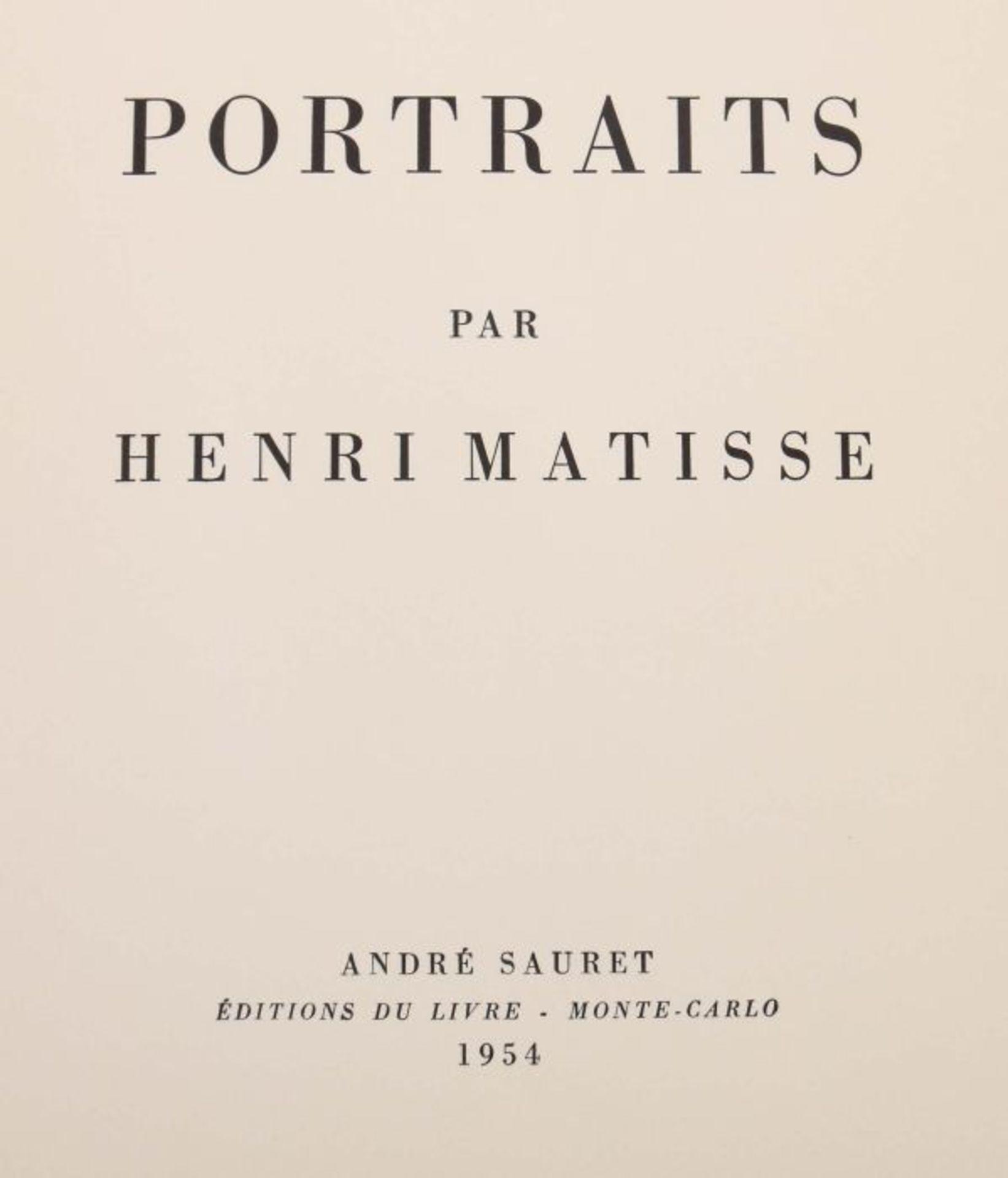 Matisse, Henri Portraits, Monte Carlo, André Sauret, 1954, Exp. 2421 von 2850 num. Exp., mit einer - Bild 4 aus 4