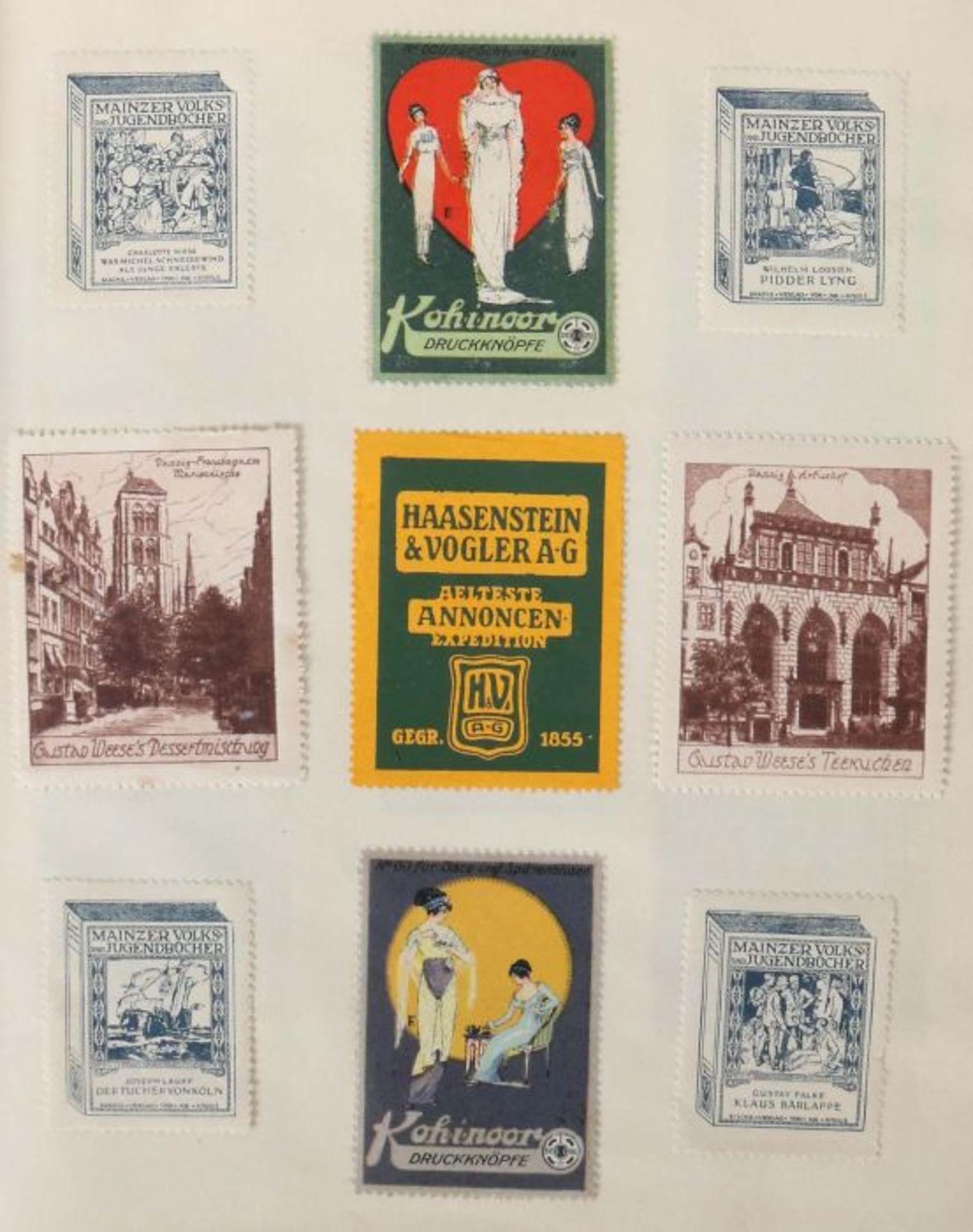 3 Werbevignetten-Alben Alben mit ca. 700 Werbevignetten, u.a. Graetzin, Odol, Weck, Matagon, - Bild 4 aus 6