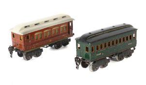 "2 Personenwagen Märklin, Spur 0, 1 x Schlafwagen ""MITROPA"" 1894, BZ 1925, Teakholzoptik,"