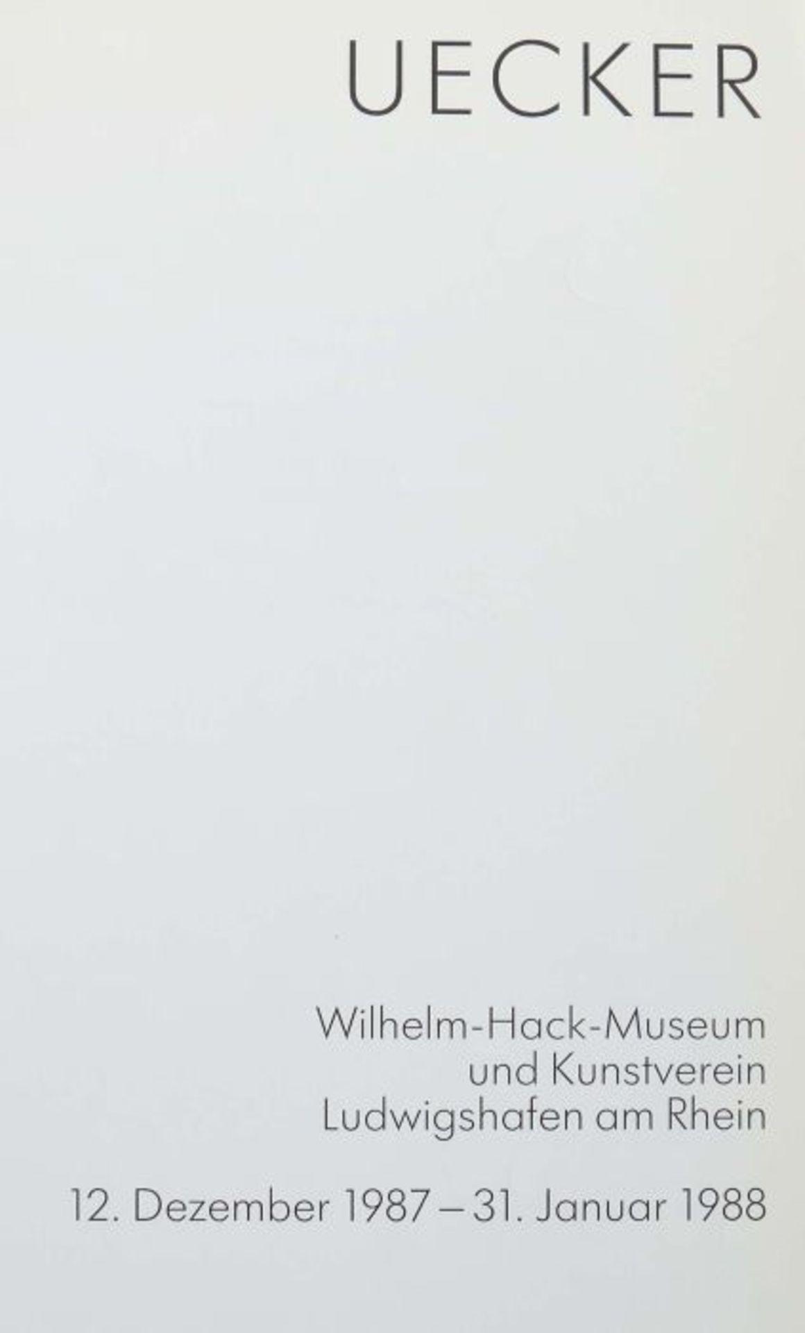 Signierter Ausstellungskatalog Günther Uecker UECKER - Wilhelm-Hack-Museum und Kunstverein - Bild 3 aus 3