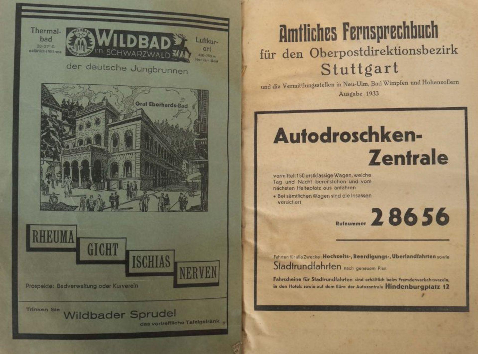 Amtliches Fernsprechbuch für den Oberpostdirektionsbezirk Stuttgart, Ausgabe Juni 1933, 578 S. + - Bild 2 aus 3