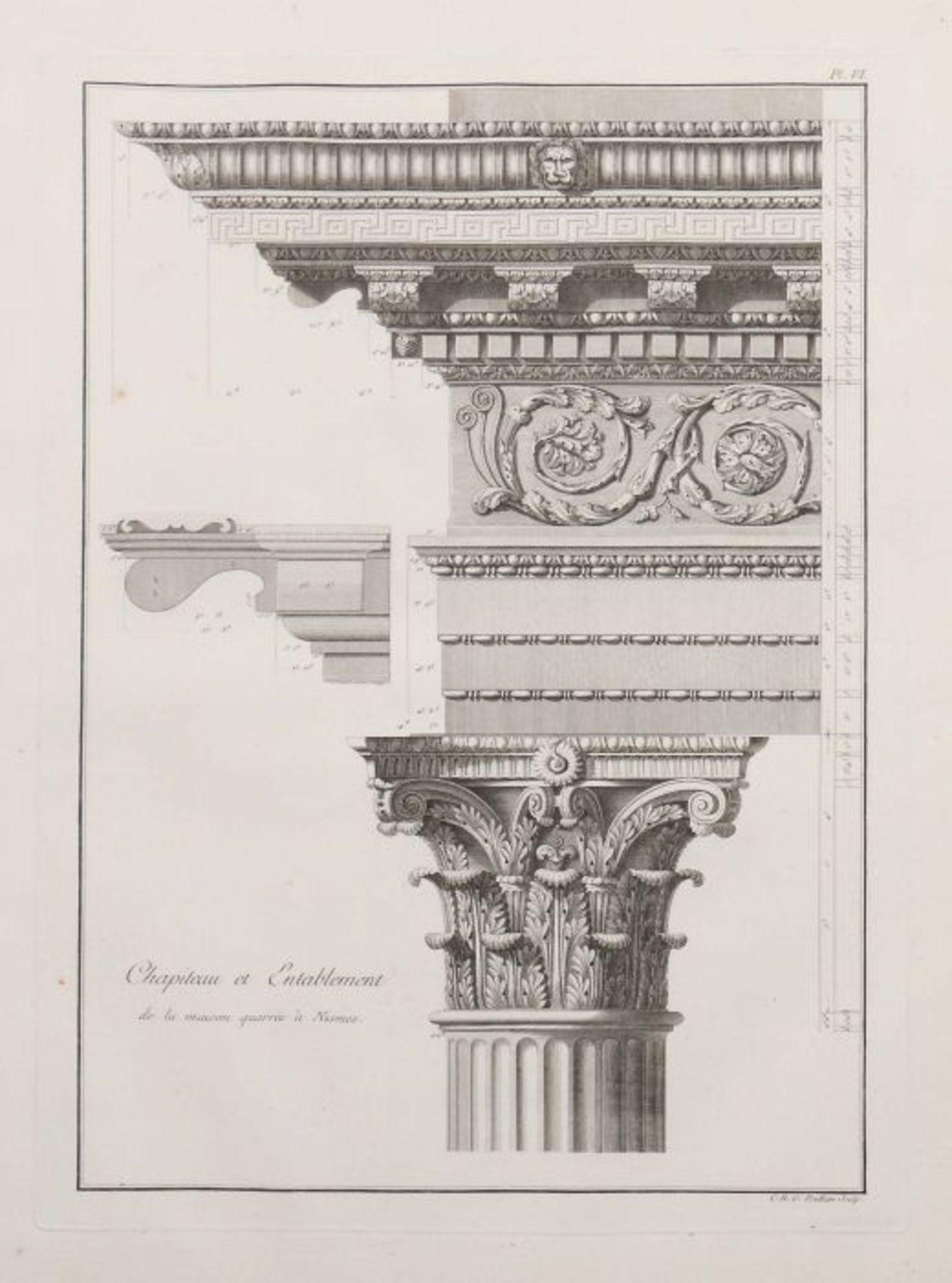 Clérisseau, Charles-Louis Antiquités de la France - Monumens de Nismes, Pierres, Paris, 1778, - Bild 6 aus 11