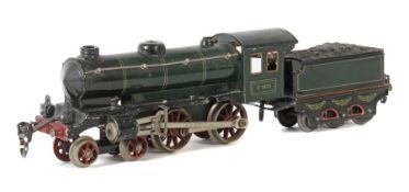 Dampflok m. Tender Märklin, Spur 0, Modell E1050, BZ 1928-31, grün/schwarz CL, Uhrwerkantrieb,