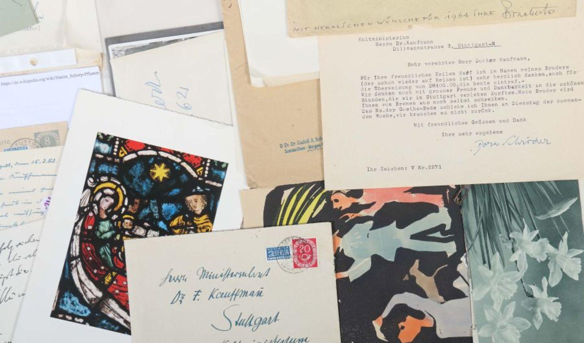 Künstlerkorrespondenzen Hand-/maschinengeschriebene Karten und Briefe u.a. von Strich-Chapell, - Bild 4 aus 5