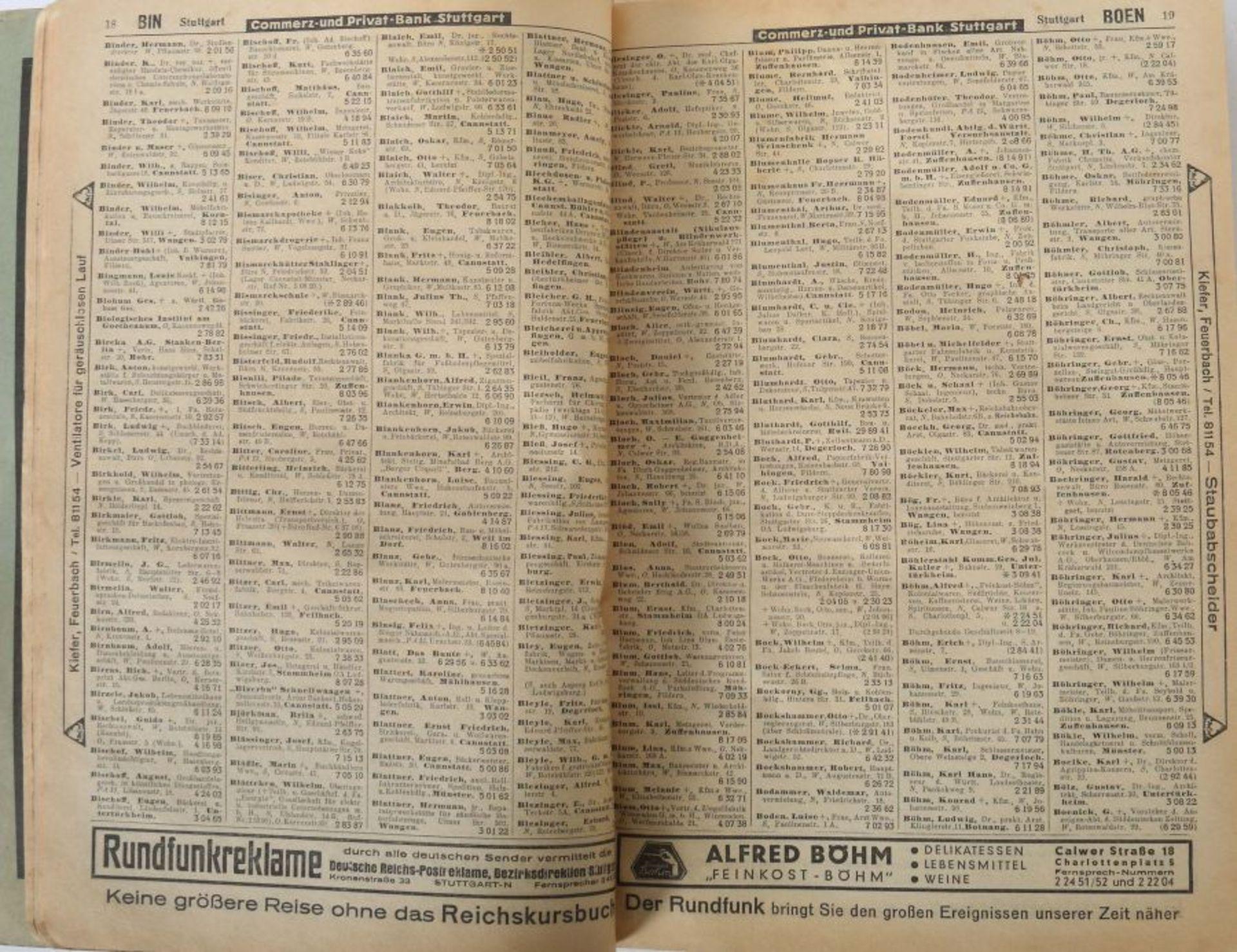 Amtliches Fernsprechbuch für den Oberpostdirektionsbezirk Stuttgart, Ausgabe Juni 1933, 578 S. + - Bild 3 aus 3