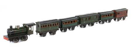 1 Lok, 5 Wagen Märklin, Spur 1, 1 x Dampflok 981, BZ 1925-31, grün/schwarz HL, Uhrwerkantrieb,