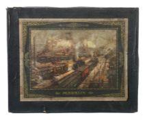 Leerkarton m. Lithografie Märklin, 1920er Jahre, Leerkarton für Weichen, bez. MÄRKLIN 13722/10 W,