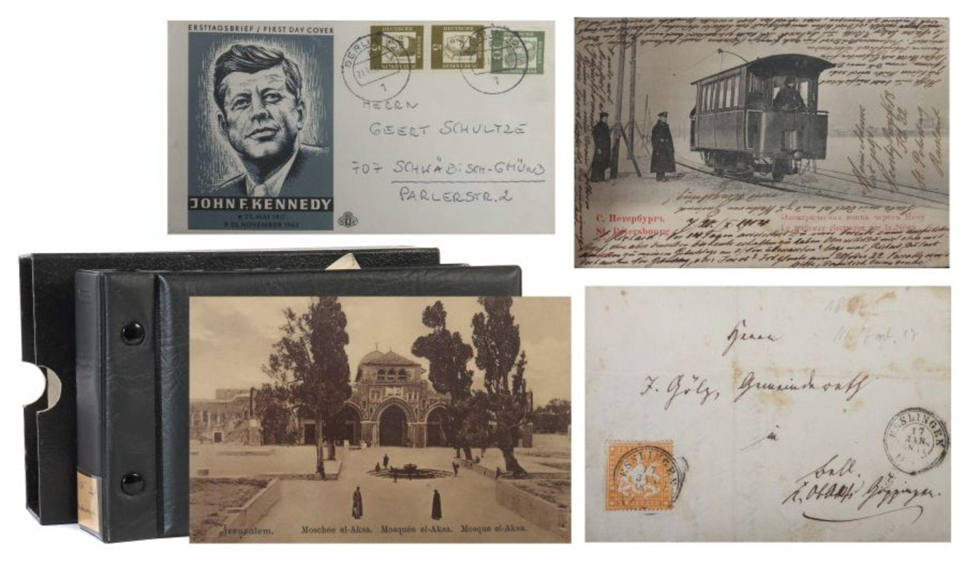 Kleine Postkarten-Sammlung mit ca. 10 handgeschriebenen Briefen um ca. 1900, ca. 55 Postkarten