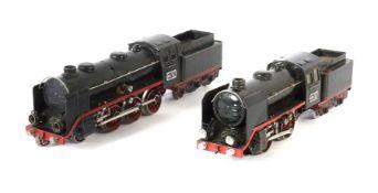 2 Dampfloks Märklin, Spur 0, 1 x 20-Volt-Dampflok GR 70/1290, mattschwarz HL, Fernschaltung, BZ