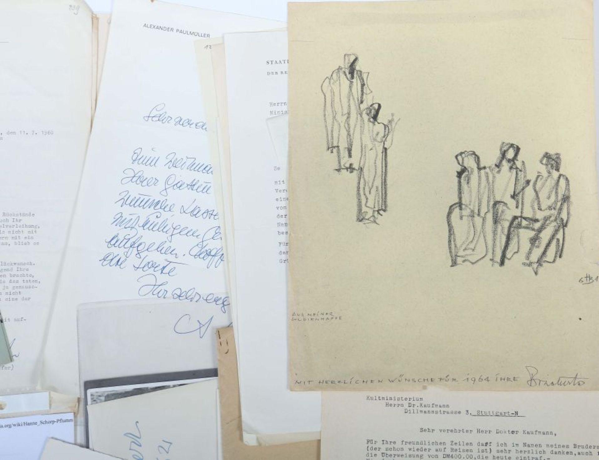 Künstlerkorrespondenzen Hand-/maschinengeschriebene Karten und Briefe u.a. von Strich-Chapell, - Bild 3 aus 5