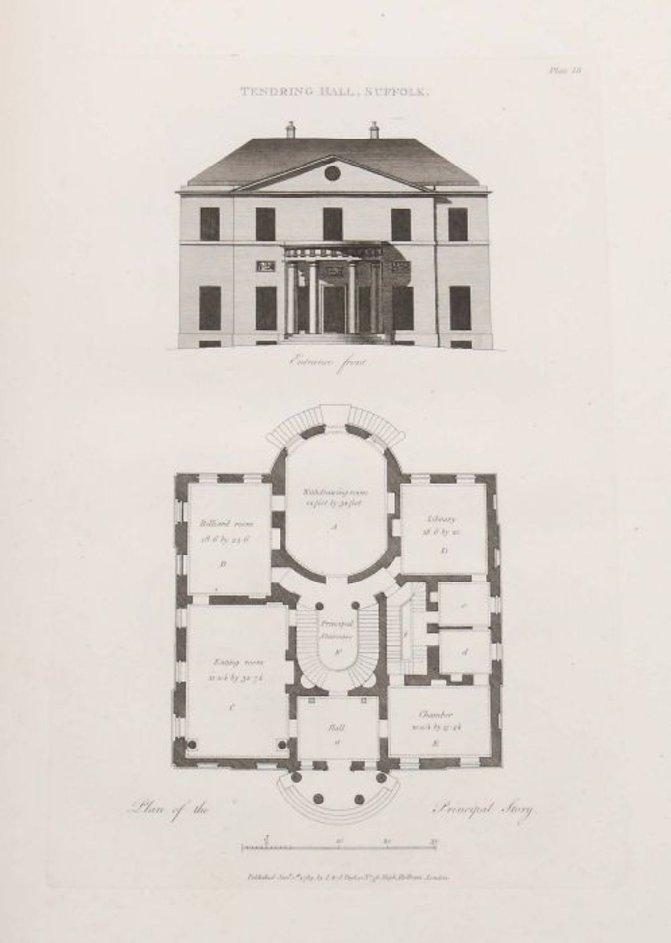 Soane, John Plans, Elevations and Sections of Buildings: executed in the counties of Norfolk, - Bild 5 aus 8