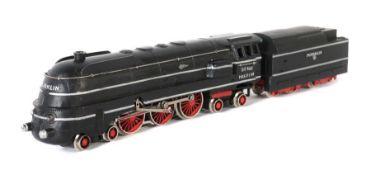 Dampflok m. Tender Märklin, Spur H0, SK 800, wohl Typ 13, dann BZ: 1948, Guss, schwarz, 4 Dome,