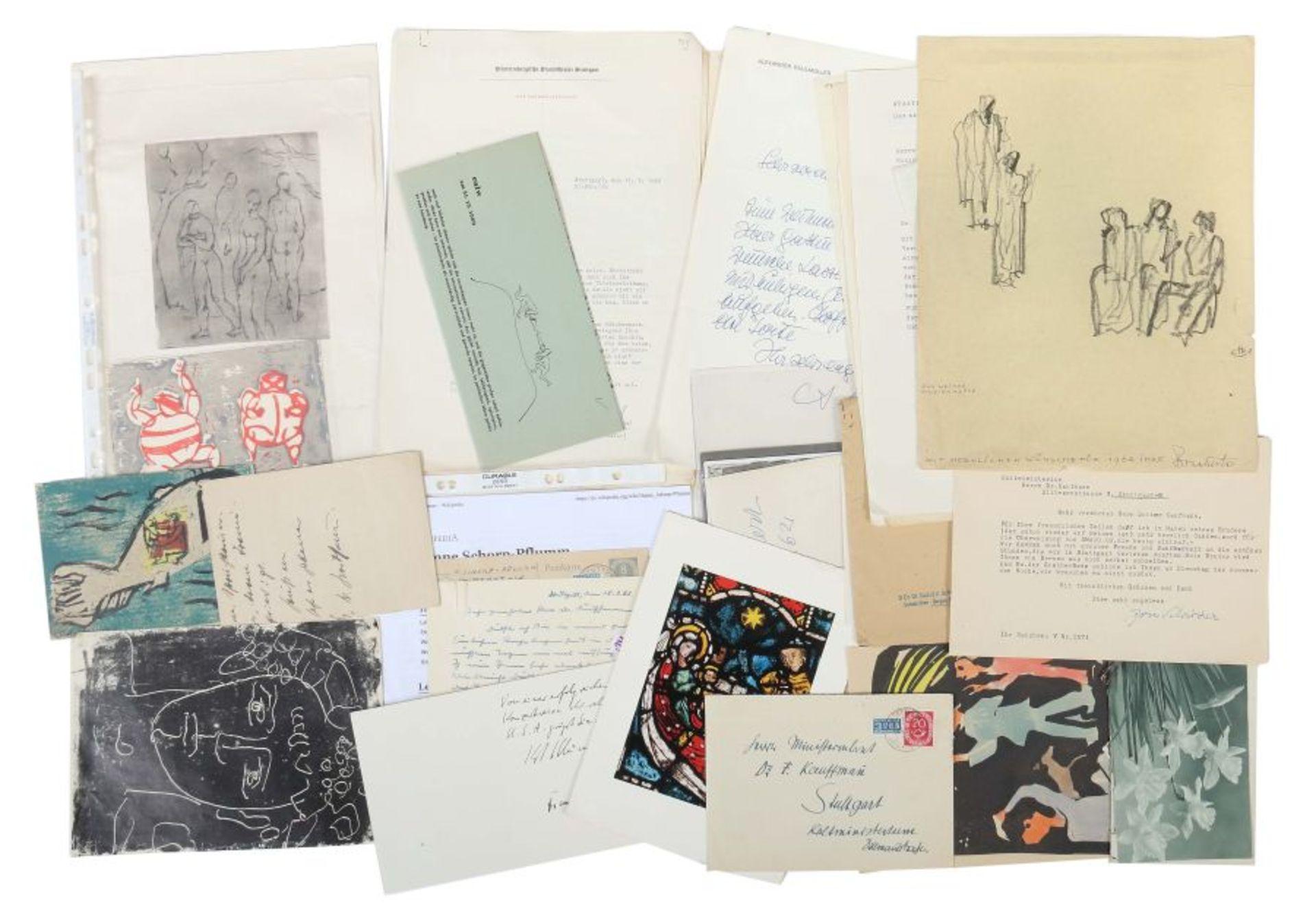 Künstlerkorrespondenzen Hand-/maschinengeschriebene Karten und Briefe u.a. von Strich-Chapell,