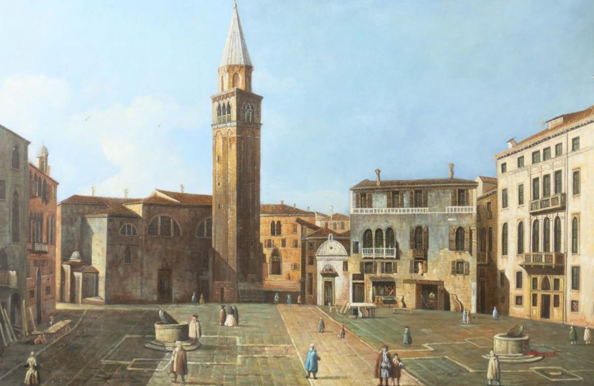 """Maler 2. H. 20. Jh. """"Italienischer Marktplatz"""" mit Figurenstaffage, Stadtansicht im Stil des 17."""